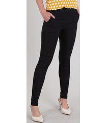calça legging feminina em jacquard com bolsos preta