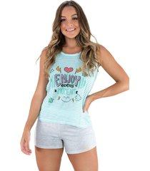 pijama mvb modas curto adulto estampado shortdoll cinza verde