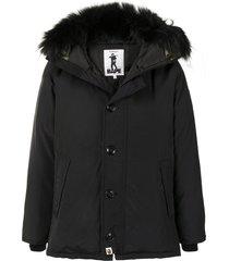 a bathing ape® faux-fur trim padded jacket - black