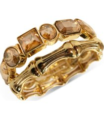 thalia sodi gold-tone 2-pc. set multi-stone & bamboo stretch bracelets, created for macy's