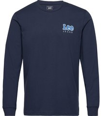 ls chest logo tee t-shirts long-sleeved blå lee jeans