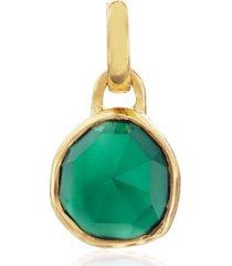 gold siren mini bezel pendant charm green onyx