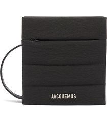 'le carre' padded nylon leather strap crossbody bag