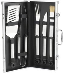 picnic at ascot 5 piece stainless steel barbecue grill tool set in aluminum case