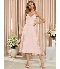 yoins vestido a media pierna con ribete de encaje y diseño anudado sin espalda en rosa