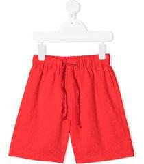 raspberry plum drawstring waist shorts - red