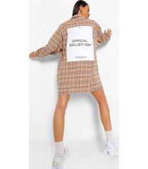 monochrome geruite oversized blouse jurk met rugopdruk, stone