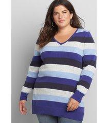 lane bryant women's long-sleeve v-neck sweater 14/16 blue multi stripe