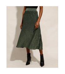 saia de tricô com lurex midi plissada verde