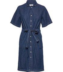 soft indigo daima jurk knielengte blauw mads nørgaard