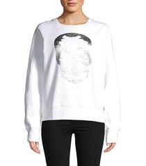 zadig & voltaire women's metallic graphic cotton sweatshirt - white - size s