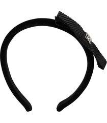 gucci crystal bow-detail headband - black