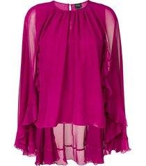 giambattista valli cape style ruffle blouse - purple