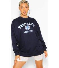 brooklyn slogan extreme oversized sweatshirt, navy