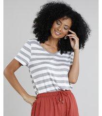 blusa feminina básica listrada manga curta decote v cinza mescla