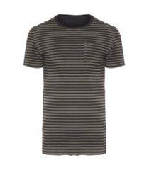 t-shirt masculina double pocket stripes rose - preto