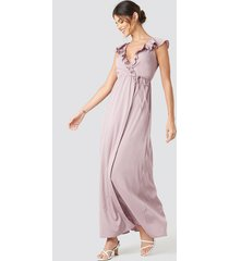 na-kd party high slit tie waist maxi dress - pink