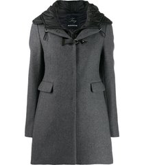 fay buckle detail coat - grey