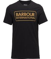 b.intl essential large logo tee t-shirts short-sleeved blå barbour