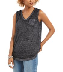 style & co chest-pocket burnout top, created for macy's