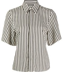 short sleeves shirt with invisible button placket striped
