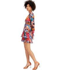bar iii floral-print ruffled v-neck mini dress, created for macy's