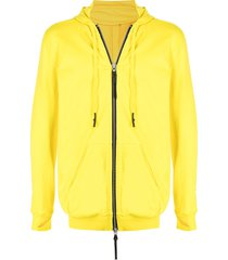 11 by boris bidjan saberi z2b neck-warmer zip-up hoodie - yellow