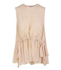 crepe envers satin blouse with coulis detail at the waist