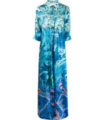 peter pilotto floral-print shirt dress - blue