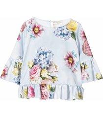 monnalisa floral print ruffleds blouse