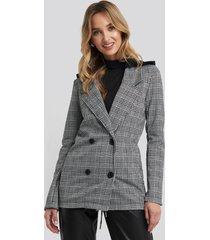 trendyol gray plaid blazer - grey