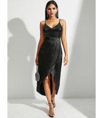 vestido de tirantes de espagueti con diseño dividido de lentejuelas de satén negro yoins