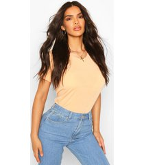 recycled basic cap sleeve t-shirt, apricot