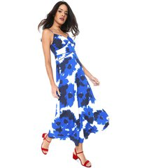 vestido banana republic midi estampado azul/branco