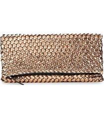 naghedi women's ibiza metallic woven clutch - amaretto