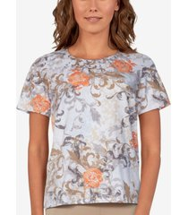 alfred dunner women's missy classics scroll floral short sleeve t-shirt