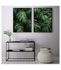 quadro oppen house    70x100cm folhagem costela de adão plantas jardim decorativo interiores sala de estar quartos moldura preta com vidro