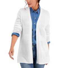 karen scott pointelle-stripe open-front cardigan, created for macy's