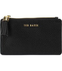 women's ted baker london peggey tassel zip leather card holder - black