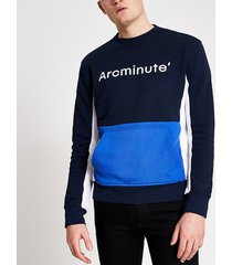 river island mens arcminute blue colour blocked sweatshirt