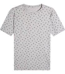 camiseta m/c estampado mini print hojas color gris, talla l