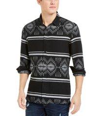 sun + stone men's david stripe jacquard shirt, created for macy's