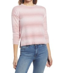 bobeau crewneck stripe sweater, size x-small in pink at nordstrom