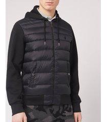 polo ralph lauren men's multi knit hooded down jacket - polo black - xxl