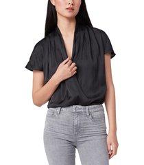 women's paige dijon surplice bodysuit, size large - black