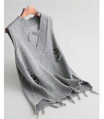 maglioni lavorati a maglia senza maniche casual per le donne