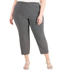 alfani plus size printed jacquard fringed-hem pants, created for macy's