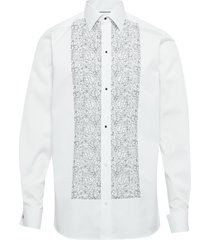 floral embroidery - contemporary fit skjorta business vit eton