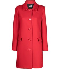 love moschino crystal-logo coat - red