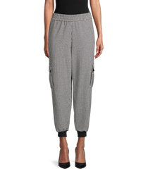 alice + olivia by stacey bendet women's houndstooth jogger pants - black white - size s